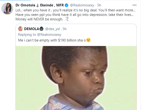 Success is not measured by money alone - Omotola Jalade reacts after Twitter user tweeted about Elon Musk becoming the richest man in the world by being an atheist lindaikejisblog 2