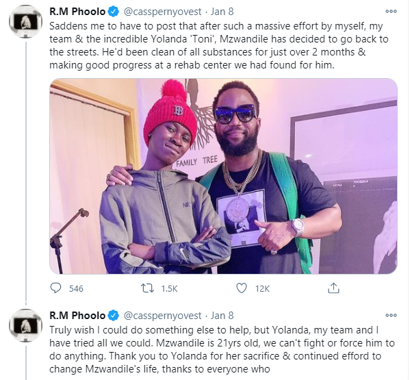 Cassper Nyovest shares his pain after homeless boy he rescued went back to the streets lindaikejisblog 11
