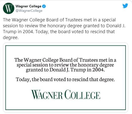 Wagner College also revokes honorary degree awarded to President Trump lindaikejisblog 1