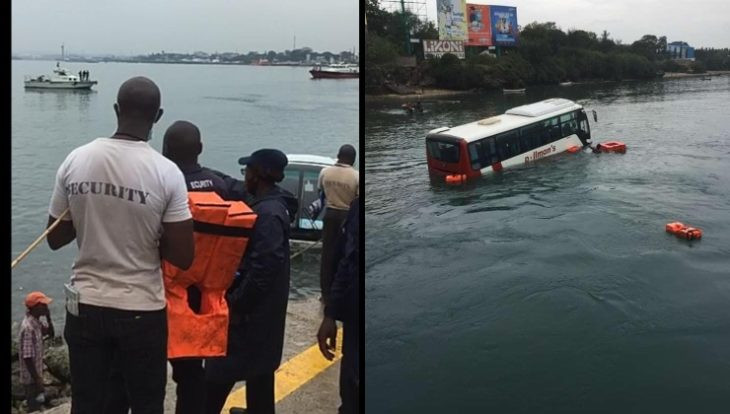 Tourist bus plunges into the Indian Ocean at Likoni Crossing Channel in Kenya