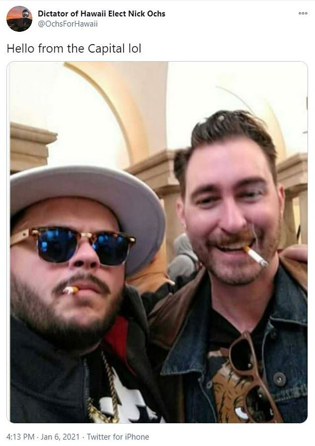 Proud Boys leader, Nicholas Ochs who shared picture of himself smoking during US Capitol riot claims he was acting as a 'journalist' after being arrested lindaikejisblog 2