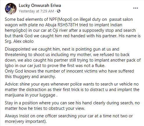 Nigerian man confronts police officer who allegedly planted marijuana in his car in Enugu lindaikejisblog 1