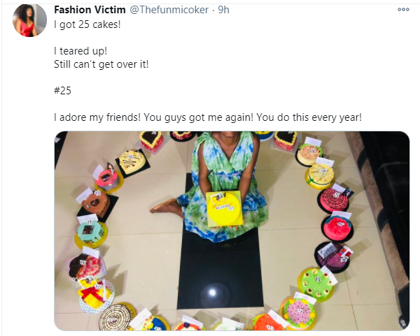 Nigerian lady gets 25 cakes from her friends on her 25th birthday 1