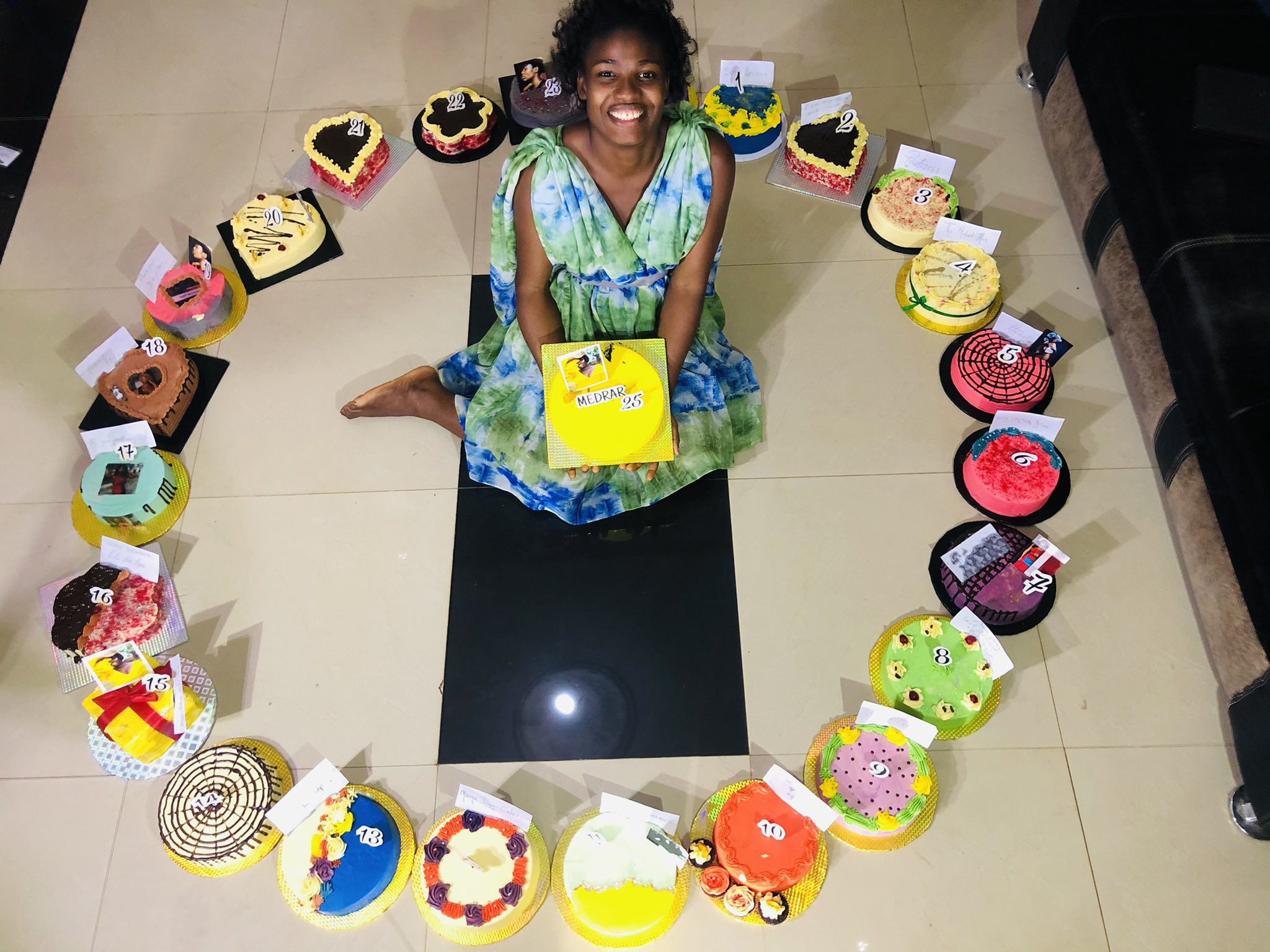 Nigerian lady gets 25 cakes from her friends on her 25th birthday