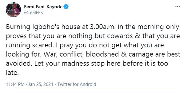 Burning Sunday Igboho's house at 3am only proves that you are nothing but cowards and that you are running scared - Femi Fani-Kayode lindaikejisblog 1