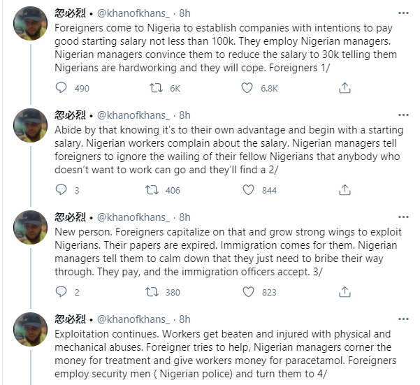 Man narrates how Nigerians connive with foreigners to enslave their compatriots and also beat the Nigerian system