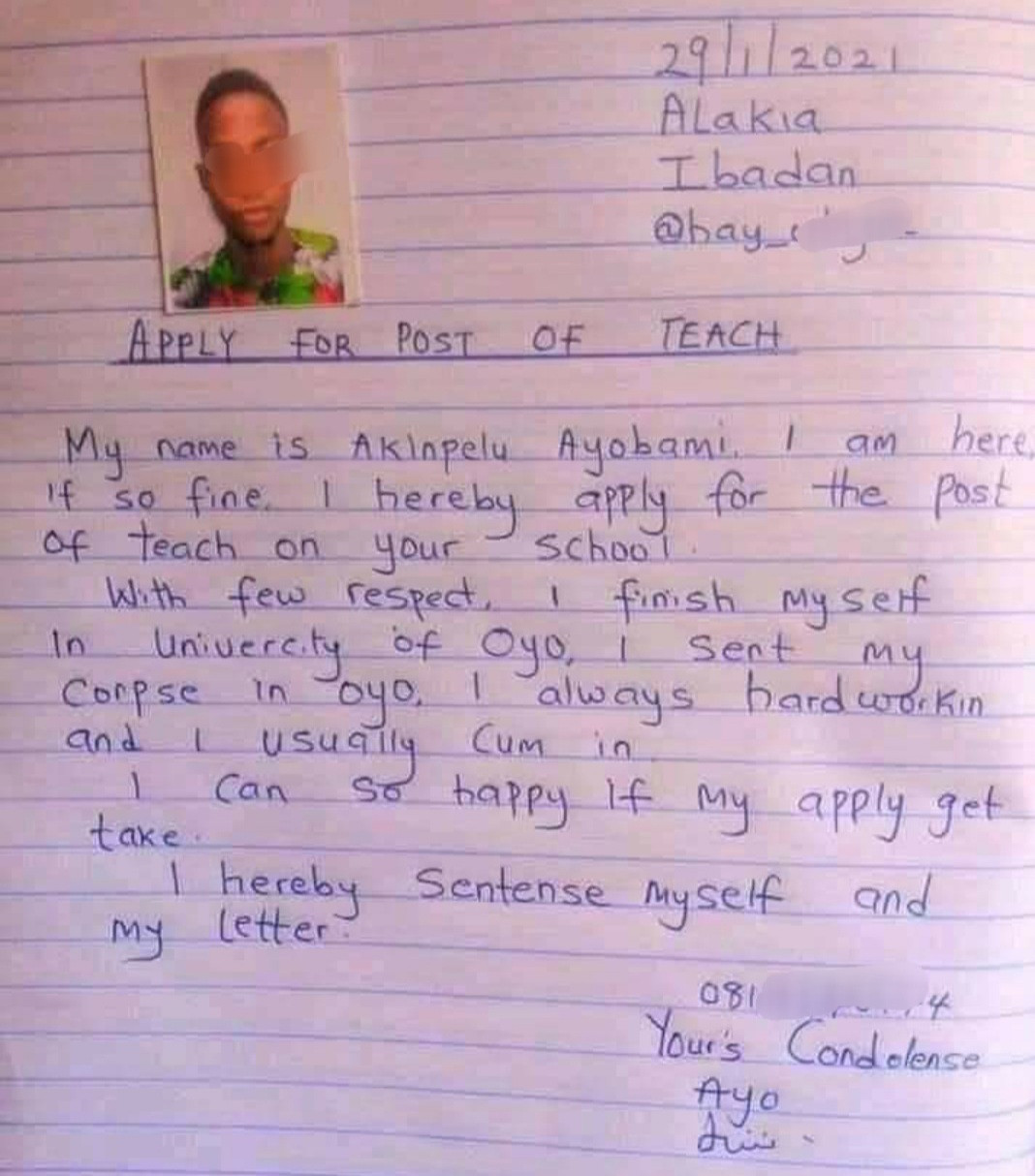 Can this be real? Application letter from a man hoping to be a teacher goes viral