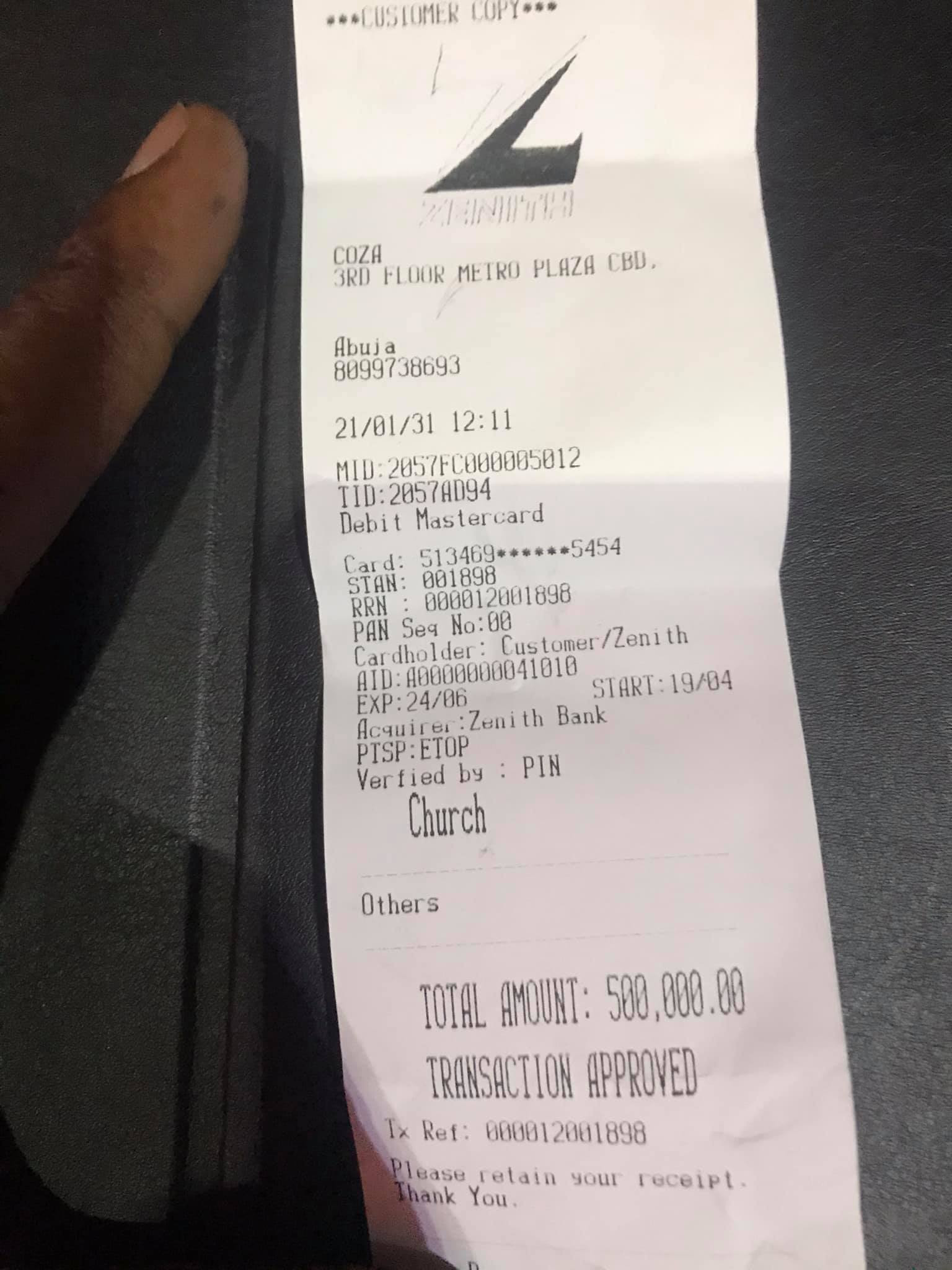 Former Governor Ayodele Fayose's brother, Isaac shares a receipt of the seed he sowed in Pastor Fatoyinbo's church  2