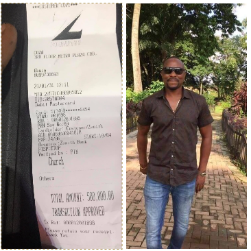 Former Governor Ayodele Fayose's brother Isaac shares a receipt of the seed he sowed in Pastor Fatoyinbo's church