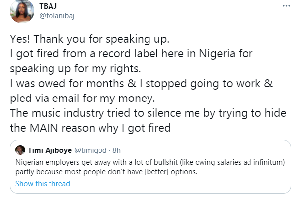 I got sack from a record label here in Nigeria for speaking up for my rights and the music industry tried to silence me - BBNaija's Tolanibaj 2