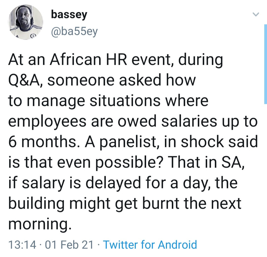 Nigerian man narrates what he claims happens in South Africa when staff are owed for a day
