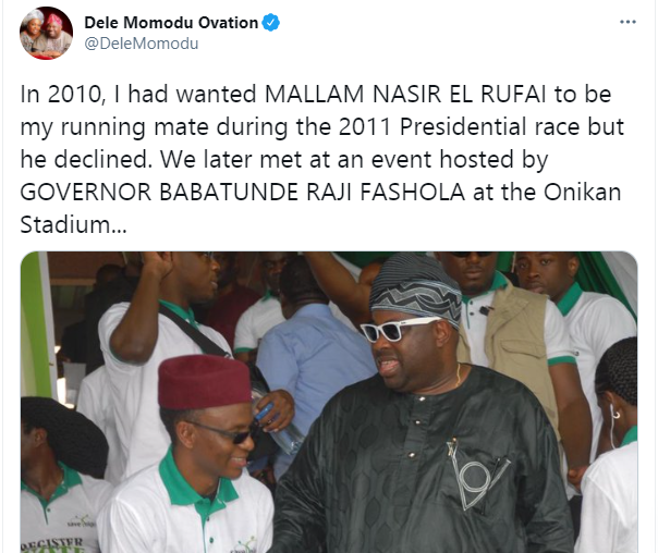El-Rufai declined being my running mate in 2011 presidential election - Dele Momodu  1
