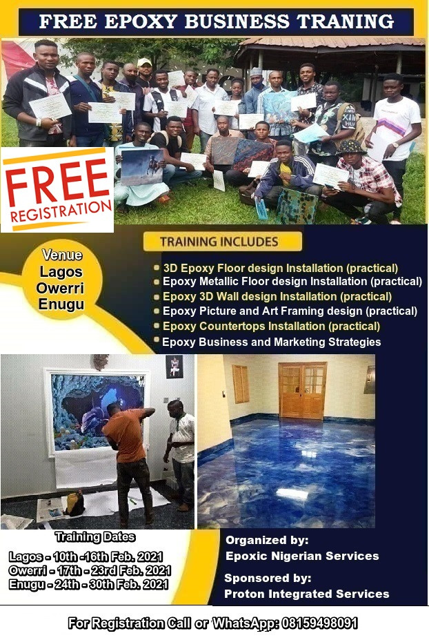 Free Training on Epoxy Business and Epoxy installations in Lagos, Enugu and Owerri