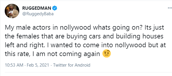 Why is it just the female actors that are buying cars and building houses in Nollywood- Ruggedman asks1