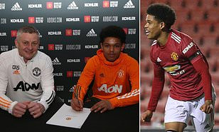 Nigerian/British Teenage winger Shola Shoretire signs his first professional contract with Manchester United