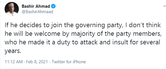 He won't be welcomed by majority of the party members - President Buhari's aide, Bashir Ahmad reacts to Femi Fani-Kayode rejoining the APC 1
