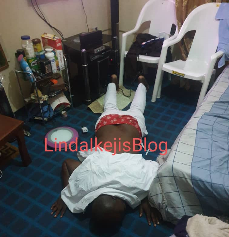 Isreal Afeare pictured prostrating and kneeling to beg DJ Cuppy