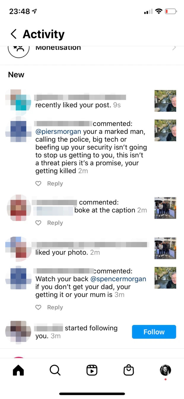 Piers Morgan goes to the police after receiving death threats 1