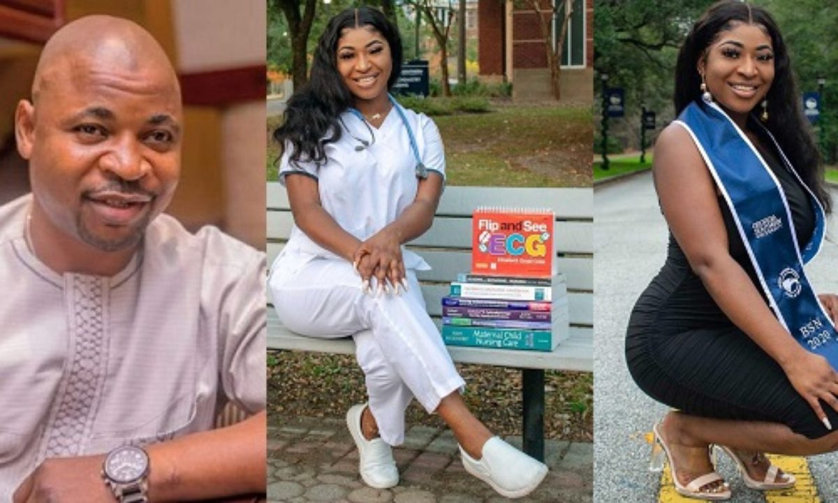 MC Oluomo's daughter, Nofisat becomes a registered nurse in US state of Georgia