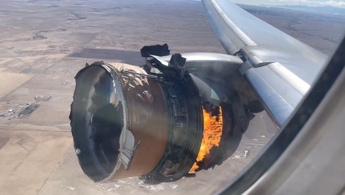 Video shows United Airlines plane engine on fire mid-flight as debris falls on houses in Colorado