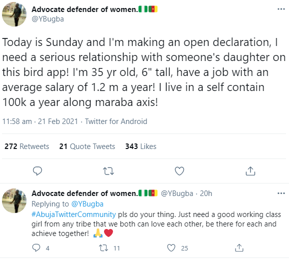 """""""You can't see"""" Twitter users react as man earning 100K a month and renting a 100k per year self-contained goes on Twitter to search for a serious relationship"""