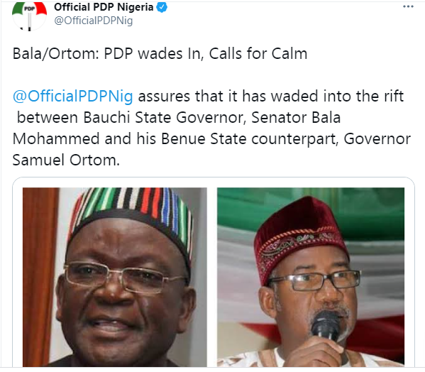PDP intervenes on Governors Ortom and Bala's faceoff on armed herdsmen
