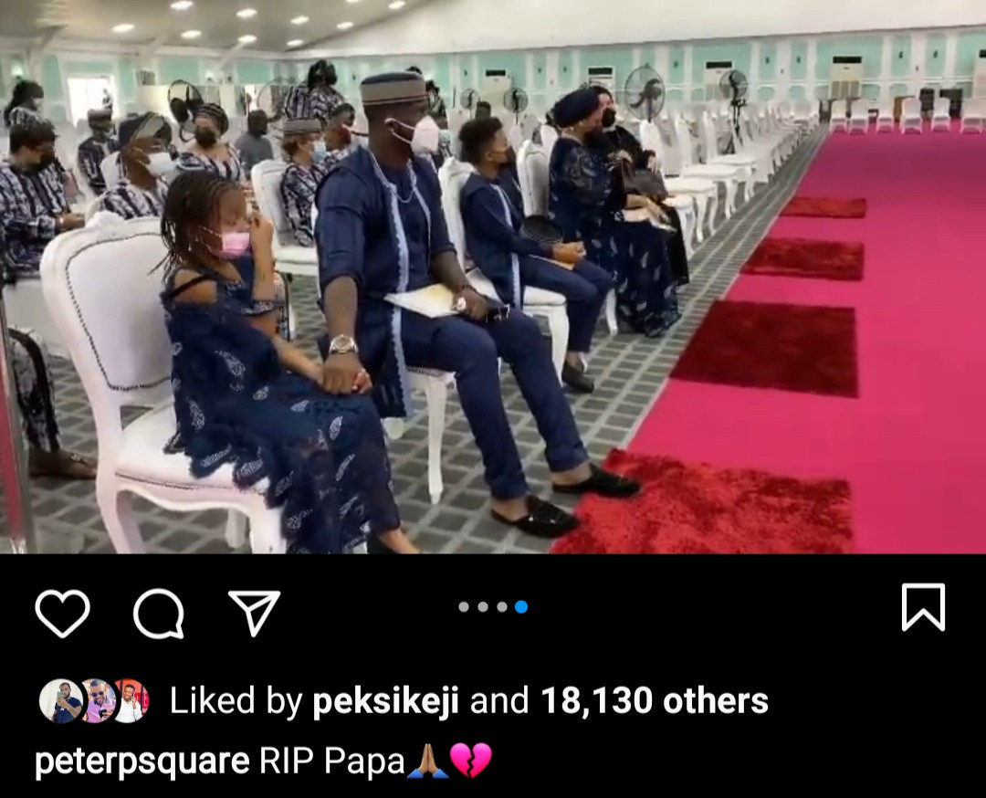 6037933a59bcf Tears flow as Peter Okoye's father-in-law is laid to rest (photos/video)