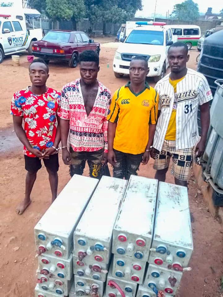 Four suspected vandals arrested for stealing MTN solar inverter batteries in Enugu