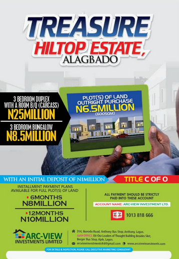 Promo!!!! Be a land owner with just 10k per square meter of land at ALAGBADO