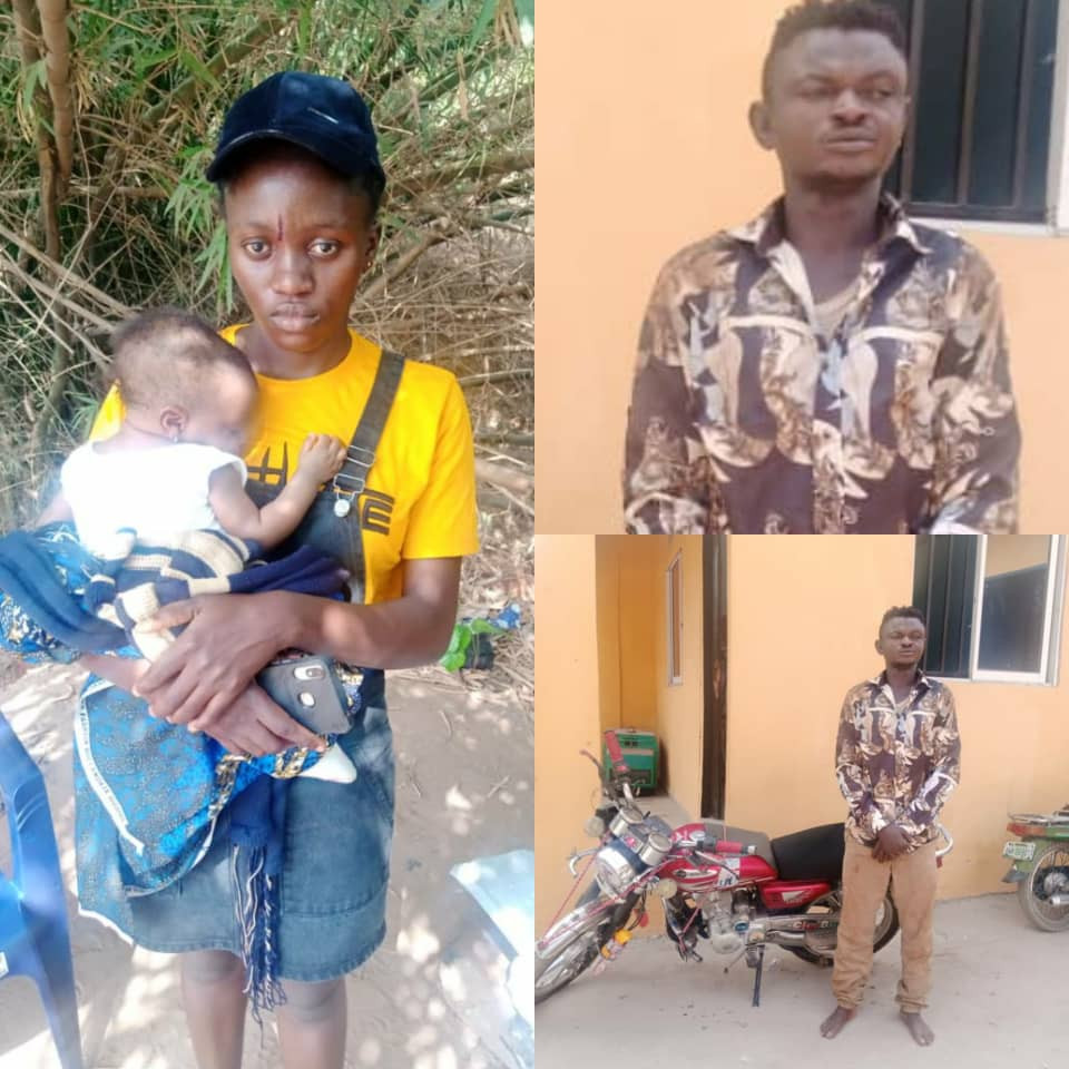 Man pretending to be an Okada rider arrested for allegedly walking into a compound and attempting to snatch a 4-months old baby from the mother (photos)