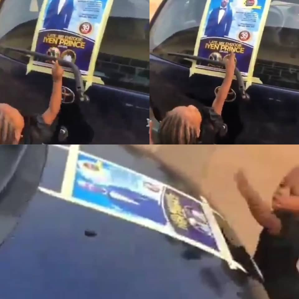 ''Daddy! Daddy!!'' Heartbreaking video of little girl calling on her late dad after seeing his obituary poster