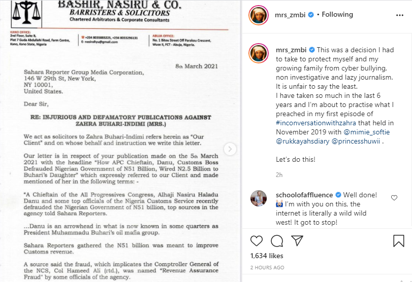 President Buhari's daughter, Zahra demands retraction and apology from Sahara Reporters over allegation of conniving with others to defraud the Nigerian government 1