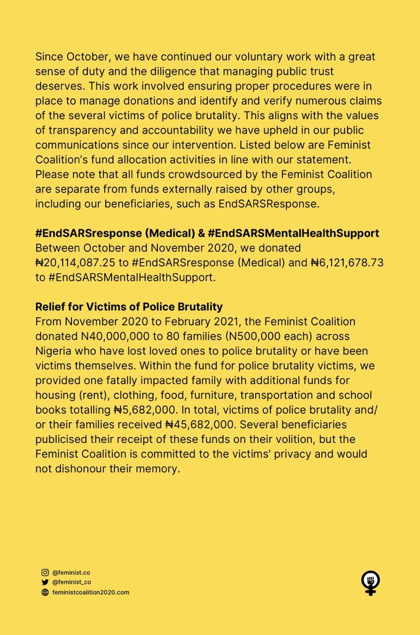 Feminist Coalition reacts to allegation of withdrawing N23m worth of bitcoin donated for #EndSARS protest and transferring it to another account 2