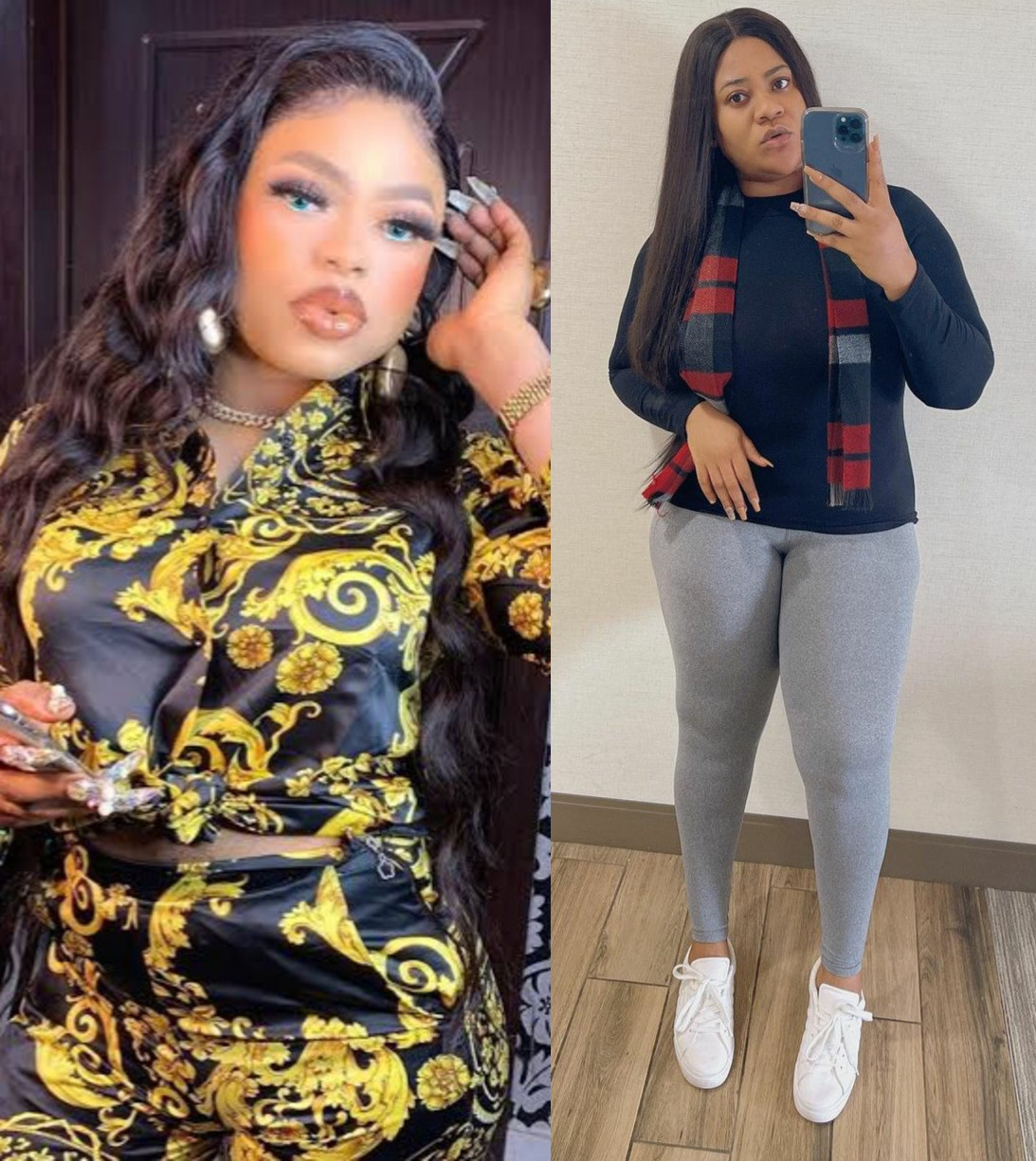 Actress Nkechi Blessing Sunday and cross-dresser Bobrisky reconcile weeks after they fought dirty on social media 'over a married man'
