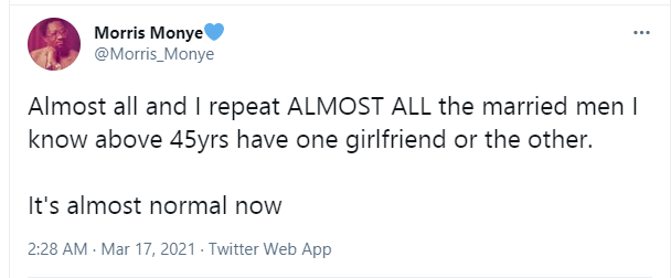 Twitter user reveals that almost all the married men he knows that are above 45 have one girlfriend or the other 1
