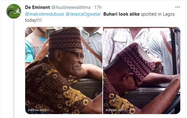 Nigerians react as President Buhari's look alike is spotted in Lagos 1