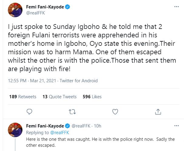 Sunday Igboho mothers residence allegedly attacked by herdsmen 2
