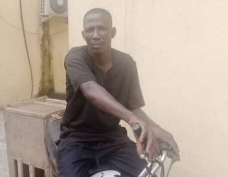 Lagos police arrest man while riding a police bike stolen during #EndSARS crisis (photo)