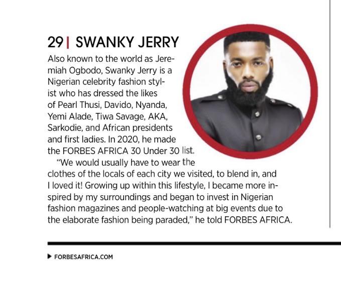 Celebrity stylist Jeremiah Ogbodo popularly known as Swankyjerry, Barack Obama, Ngozi Okonjoiweala, Lupita Nyongo, Elon Musk, Genevieve Nnaji and many more listed on Forbes 2021 100 icons from Africa lindaikejisblog0