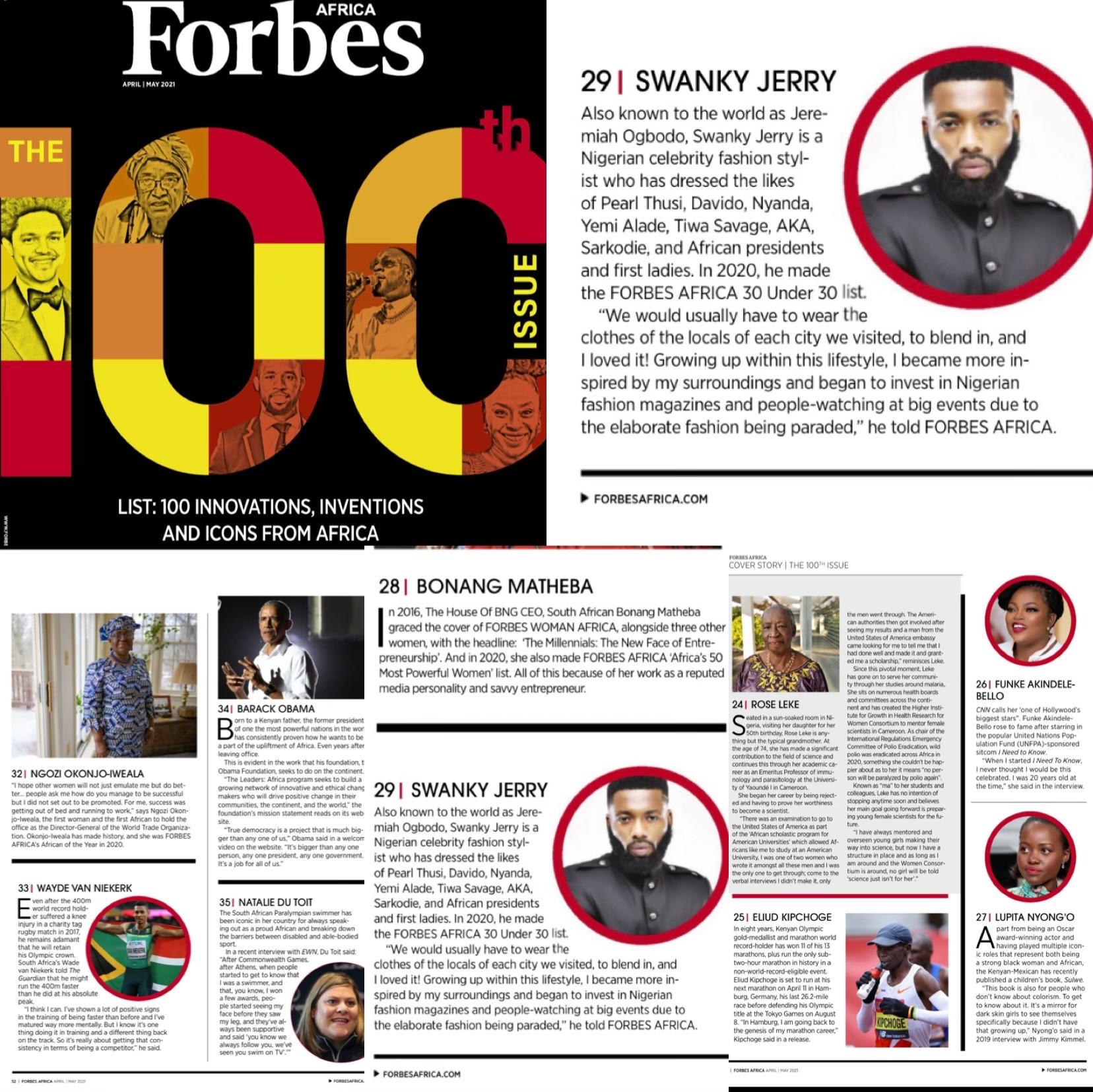 Celebrity stylist Jeremiah Ogbodo popularly known as Swankyjerry, Barack Obama, Ngozi Okonjoiweala, Lupita Nyongo, Elon Musk, Genevieve Nnaji and many more listed on Forbes 2021 100 icons from Africa lindaikejisblog2