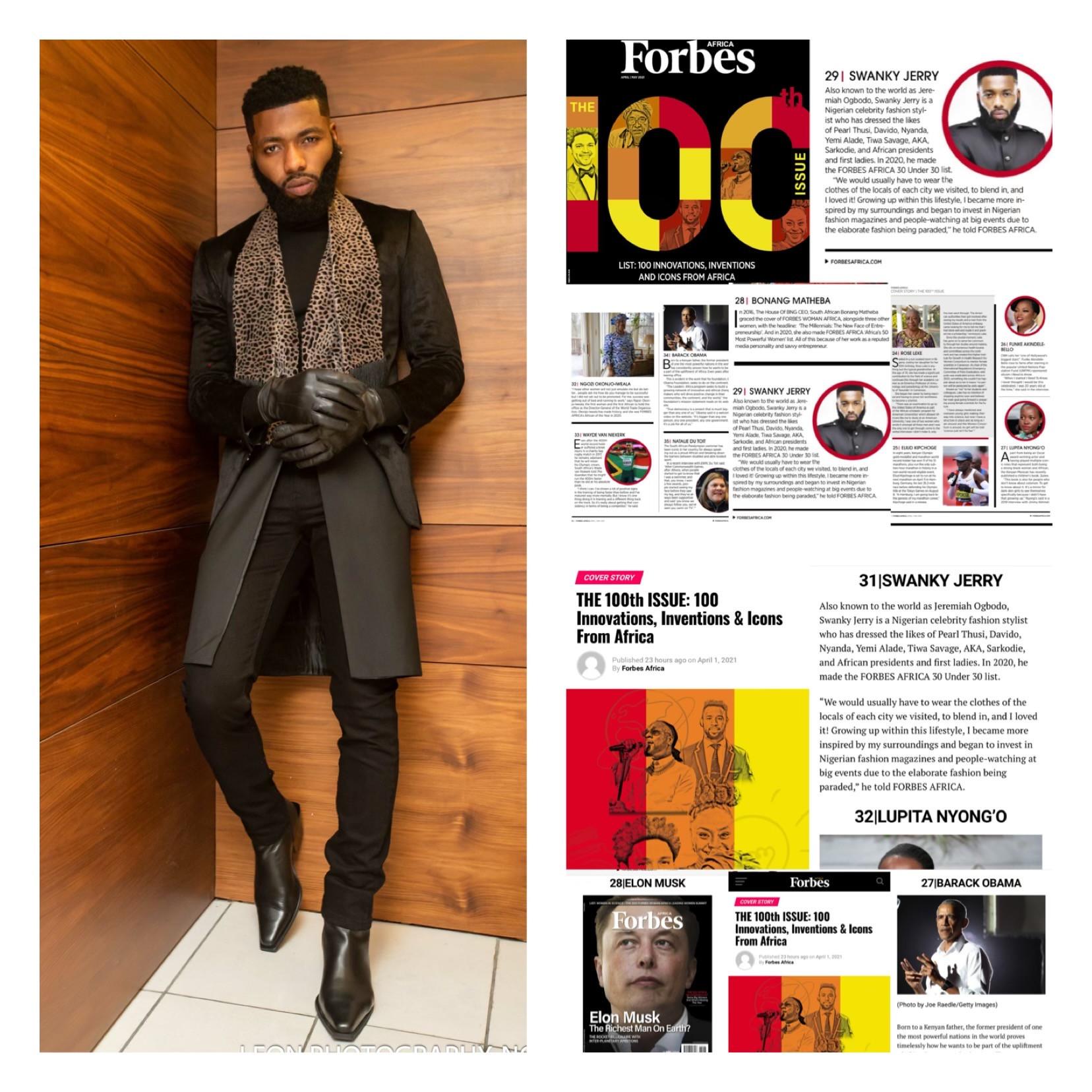 Celebrity stylist Jeremiah Ogbodo popularly known as Swankyjerry, Barack Obama, Ngozi Okonjoiweala, Lupita Nyongo, Elon Musk, Genevieve Nnaji and many more listed on Forbes 2021 100 icons from Africa lindaikejisblog3