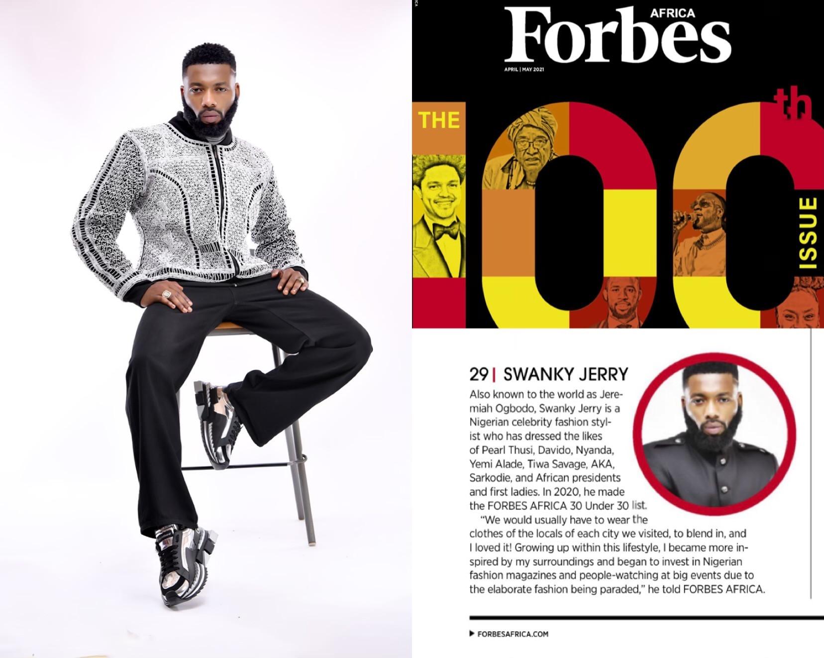 Celebrity stylist Jeremiah Ogbodo popularly known as Swankyjerry, Barack Obama, Ngozi Okonjoiweala, Lupita Nyongo, Elon Musk, Genevieve Nnaji and many more listed on Forbes 2021 100 icons from Africa lindaikejisblog4
