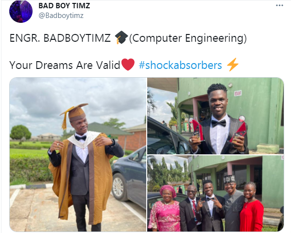Singer Bad Boy Timz graduates from University 1