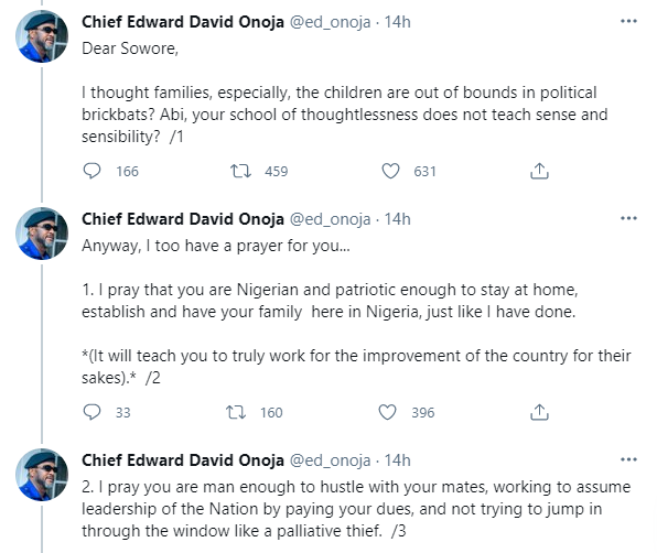 Kogi Deputy Governor, Edward Onoja slams Media Personality Omoyele Sowore over his 'prayer' for his daughter