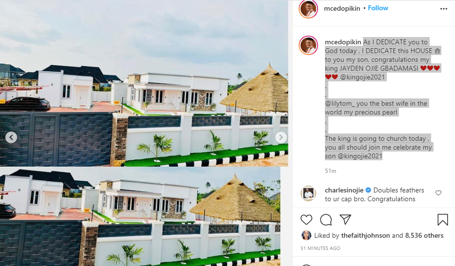 Comedian MC Edo Pikin shows off his new house, dedicates it to his son 1