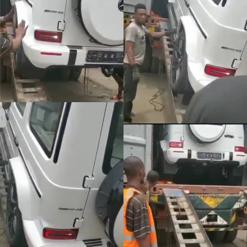 Hilarious video of man begging profusely as a 2021 GWagon is being offloaded from a container (video)