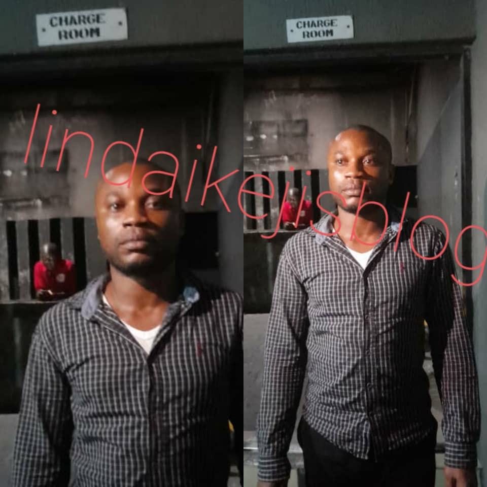Lagos Police denies reports of releasing man arrested over the death of his pregnant wife +see exclusive photos of the man in police custody this night