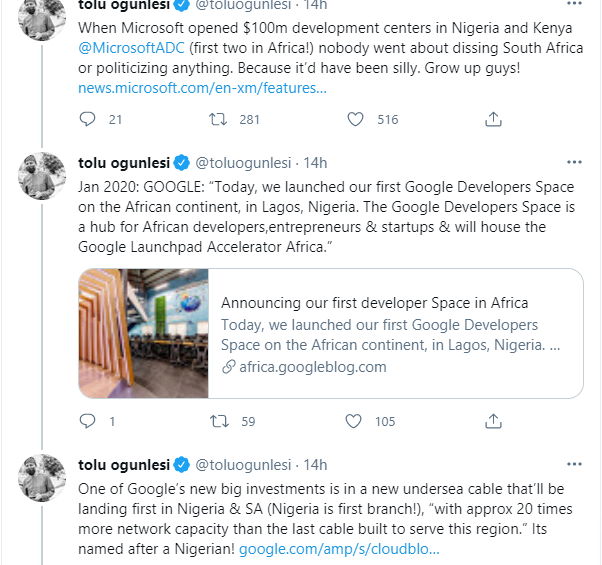 Grow up, when Microsoft opened $100m development centers in Nigeria and Kenya nobody went about dissing South Africa or politicizing anything - Presidential aide, Tolu Ogunlesi 1