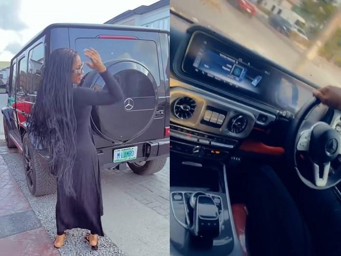 Reality star, Mercy Eke adds a Mercedes G-Wagon to her garage (Video)