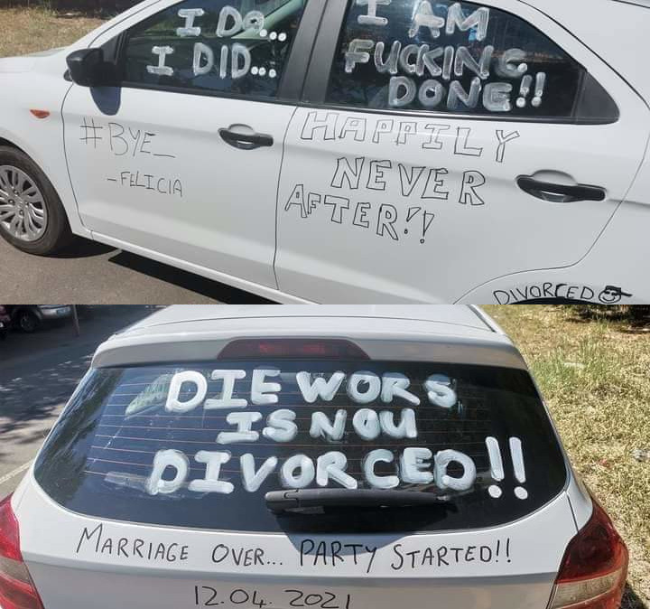 """""""Marriage over, party started"""" Man defaces his car as he joyfully announces his divorce"""